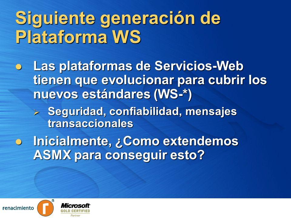 Siguiente generación de Plataforma WS Las plataformas de Servicios-Web tienen que evolucionar para cubrir los nuevos estándares (WS-*) Las plataformas