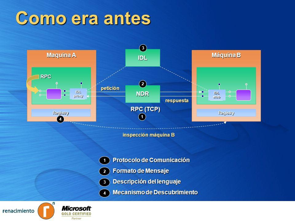 WSE Messaging ASMX está ligado a HTTP, RPC, y métodos ASMX está ligado a HTTP, RPC, y métodos Hace pensar en términos de cliente/servidor Hace pensar en términos de cliente/servidor WSE 2.0 Messaging ofrece un modelo flexible WSE 2.0 Messaging ofrece un modelo flexible Basado en Mensaje - (no necesariamente en método) Basado en Mensaje - (no necesariamente en método) Permite mensajería asíncrona Permite mensajería asíncrona Patrones Propios de intercambio de mensajes (MEPs) Patrones Propios de intercambio de mensajes (MEPs) Security Reliable Messaging Reliable Messaging Transactions Messaging Metadata XML Security Reliable Messaging Reliable Messaging Transactions Messaging Metadata XML Seguridad Mensajería Confiable Transacciones Mensajería XML Metadatos