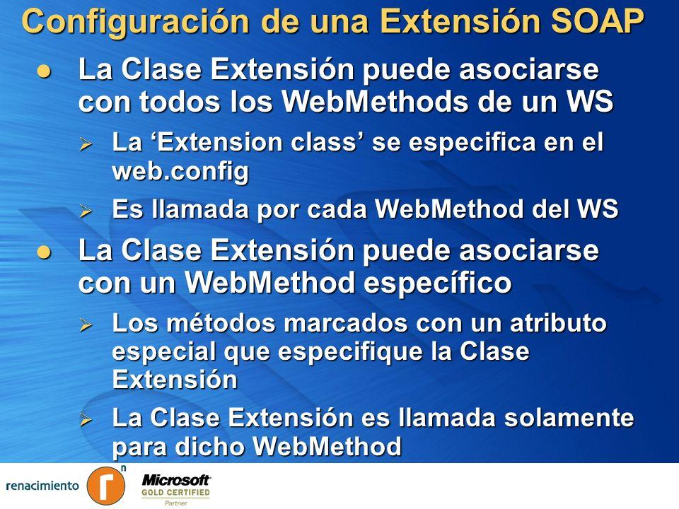 Configuración de una Extensión SOAP La Clase Extensión puede asociarse con todos los WebMethods de un WS La Clase Extensión puede asociarse con todos