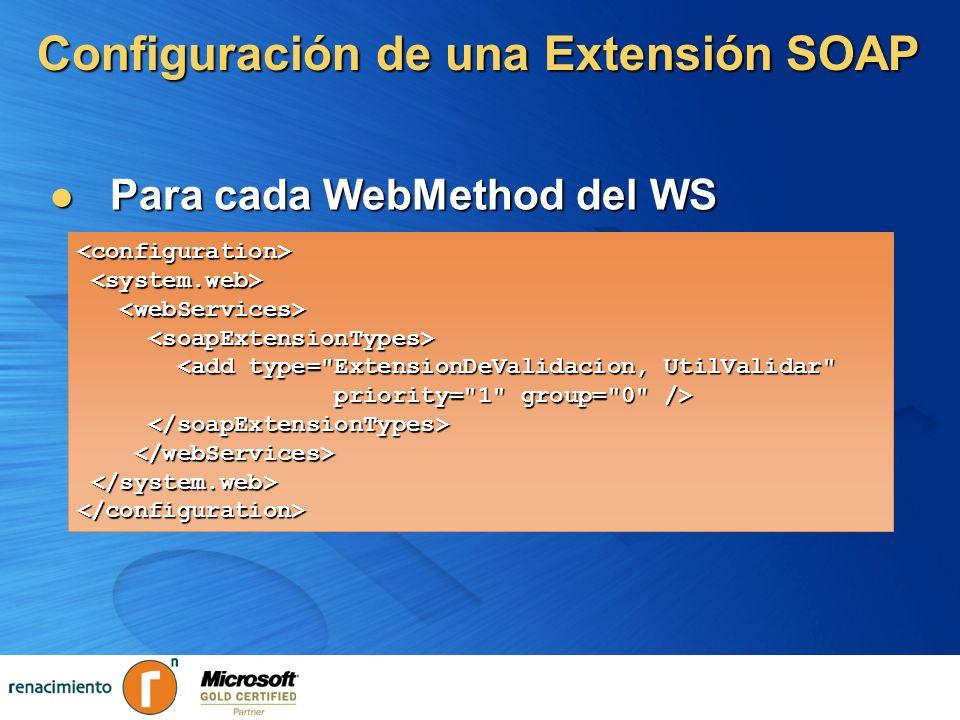 Configuración de una Extensión SOAP Para cada WebMethod del WS Para cada WebMethod del WS <configuration> <add type=