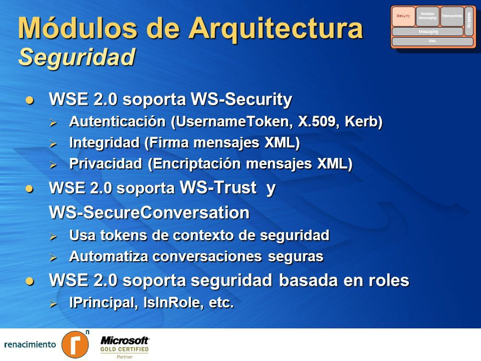 Módulos de Arquitectura Seguridad Security Reliable Messaging Reliable Messaging Transactions Messaging Metadata XML Security Reliable Messaging Relia