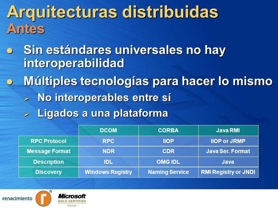 Arquitecturas distribuidas Antes Sin estándares universales no hay interoperabilidad Sin estándares universales no hay interoperabilidad Múltiples tec