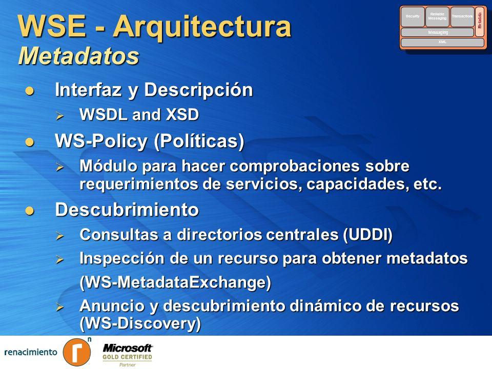 WSE - Arquitectura Metadatos Interfaz y Descripción Interfaz y Descripción WSDL and XSD WSDL and XSD WS-Policy (Políticas) WS-Policy (Políticas) Módul