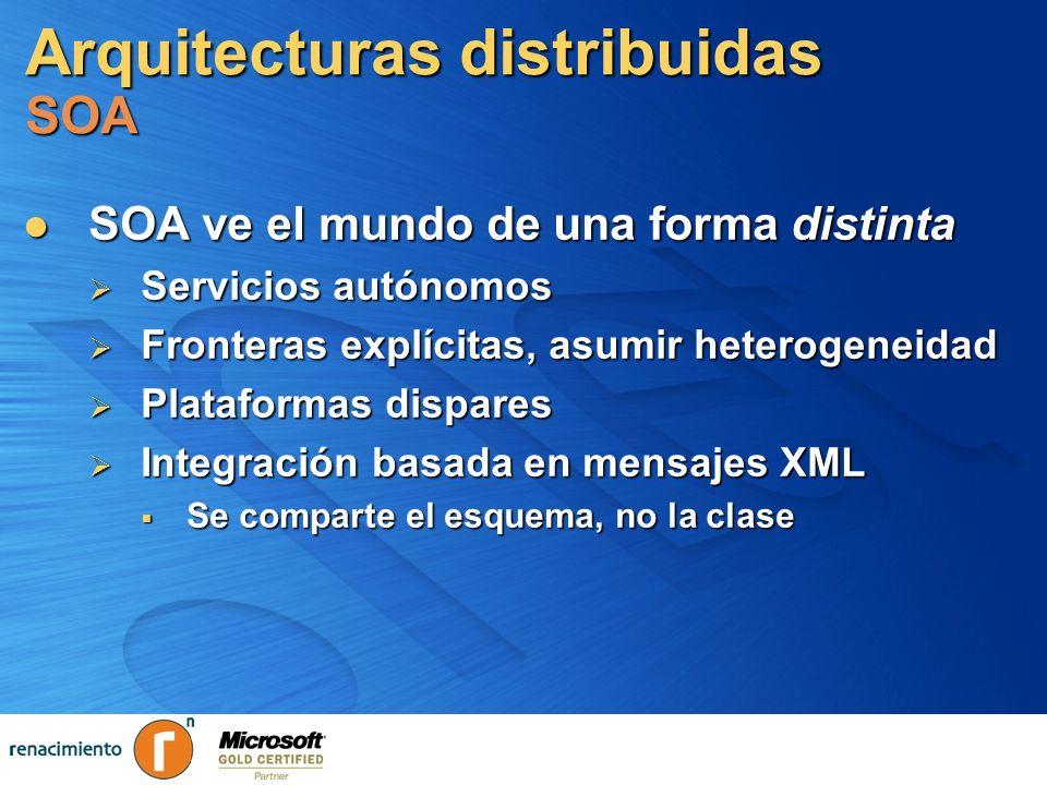 Arquitecturas distribuidas SOA y Servicios Web Los Servicios-Web son la clave de SOA Los Servicios-Web son la clave de SOA Redefinición de las tecnologías distribuidas basada en XML Redefinición de las tecnologías distribuidas basada en XML Comunicación vía protocolos de Internet Comunicación vía protocolos de Internet HTTP, SMTP, FTP… HTTP, SMTP, FTP… SOAP como formato de mensaje SOAP como formato de mensaje WSDL como definición de servicios WSDL como definición de servicios UDDI como localizador de Servicios-Web UDDI como localizador de Servicios-Web