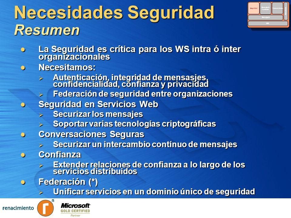 Necesidades Seguridad Resumen La Seguridad es crítica para los WS intra ó inter organizacionales La Seguridad es crítica para los WS intra ó inter org