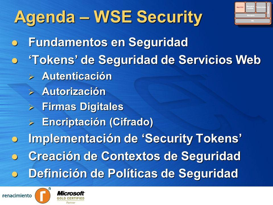 Agenda – WSE Security Fundamentos en Seguridad Fundamentos en Seguridad Tokens de Seguridad de Servicios Web Tokens de Seguridad de Servicios Web Aute