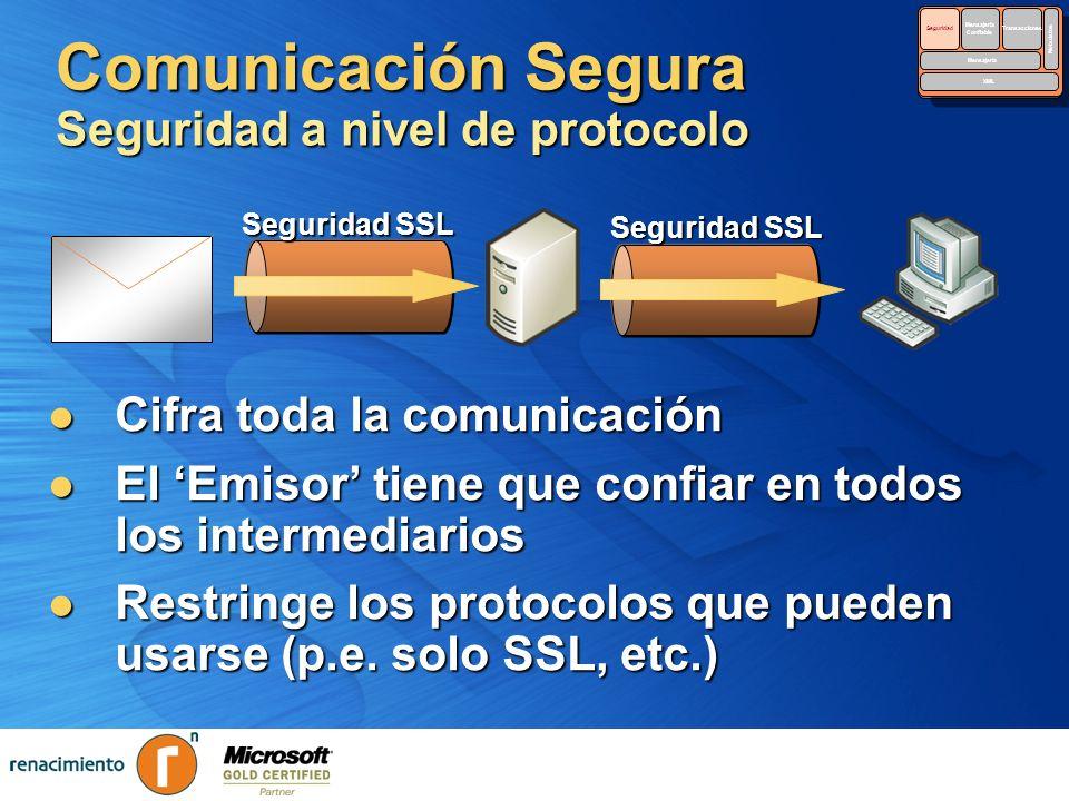 Comunicación Segura Seguridad a nivel de protocolo Cifra toda la comunicación Cifra toda la comunicación El Emisor tiene que confiar en todos los inte