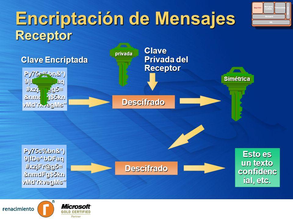 Encriptación de Mensajes Receptor Py75c%bn&*) 9|fDe^bDFaq #xzjFr@g5= &nmdFg$5kn vMdrkvegMs Descifrado Clave Encriptada privada Clave Privada del Recep