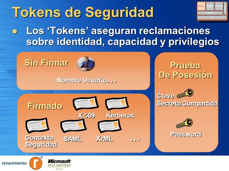 Tokens de Seguridad Los Tokens aseguran reclamaciones sobre identidad, capacidad y privilegios Los Tokens aseguran reclamaciones sobre identidad, capa