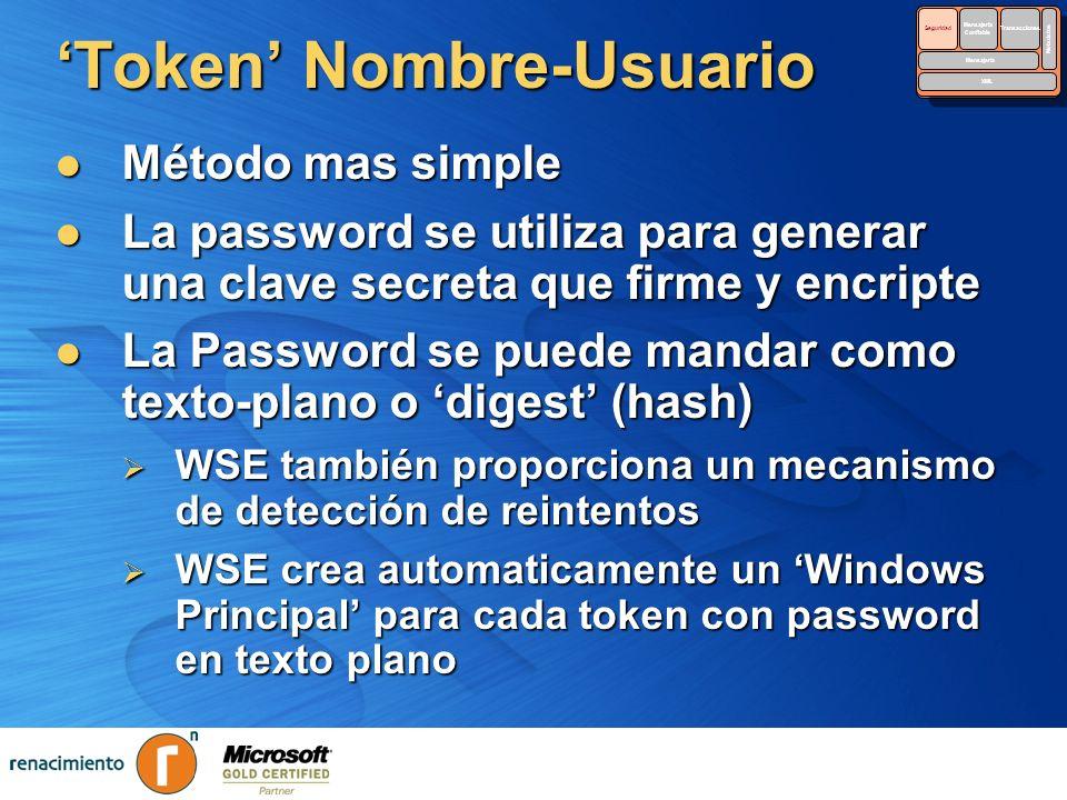 Token Nombre-Usuario Método mas simple Método mas simple La password se utiliza para generar una clave secreta que firme y encripte La password se uti