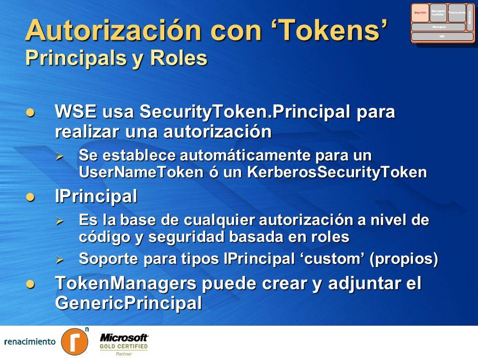 Autorización con Tokens Principals y Roles WSE usa SecurityToken.Principal para realizar una autorización WSE usa SecurityToken.Principal para realiza