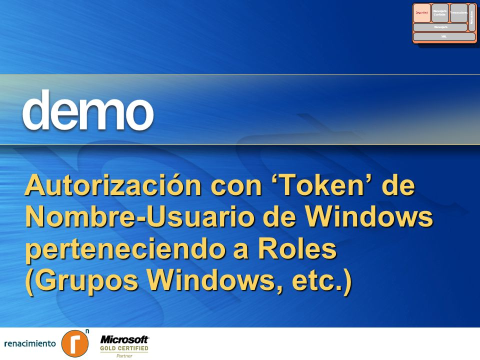 Autorización con Token de Nombre-Usuario de Windows perteneciendo a Roles (Grupos Windows, etc.) Security Reliable Messaging Reliable Messaging Transa