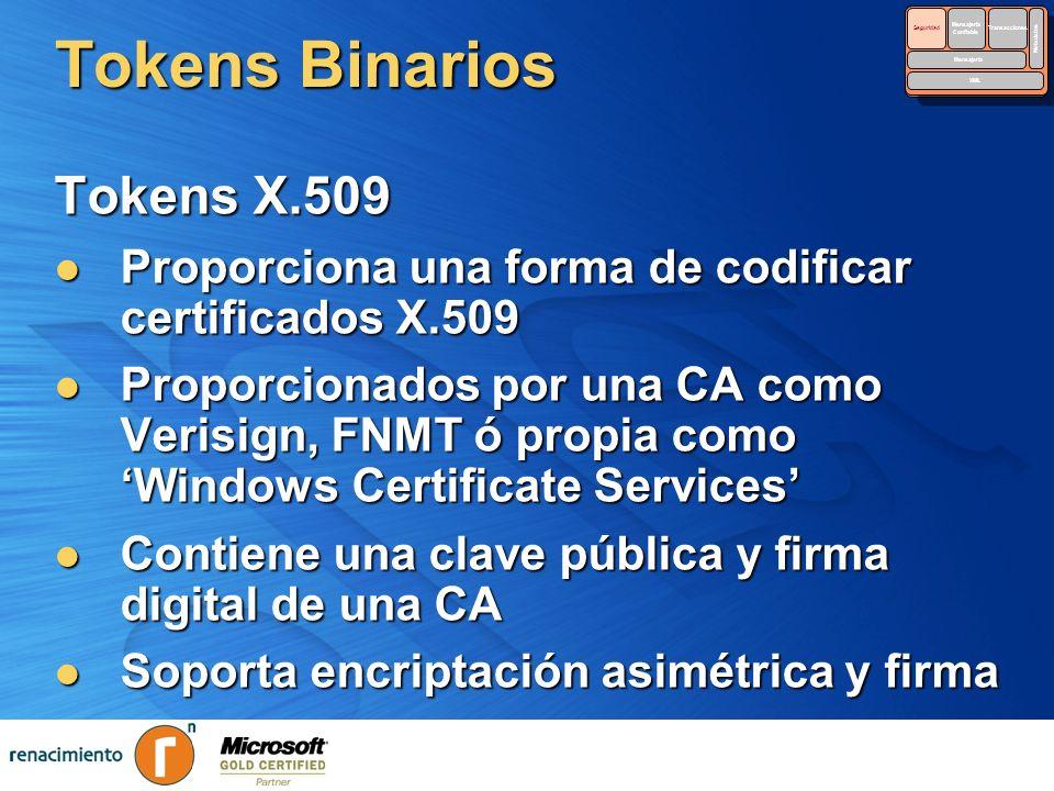 Tokens Binarios Tokens X.509 Proporciona una forma de codificar certificados X.509 Proporciona una forma de codificar certificados X.509 Proporcionado