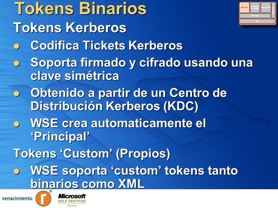 Tokens Binarios Tokens Kerberos Codifica Tickets Kerberos Codifica Tickets Kerberos Soporta firmado y cifrado usando una clave simétrica Soporta firma