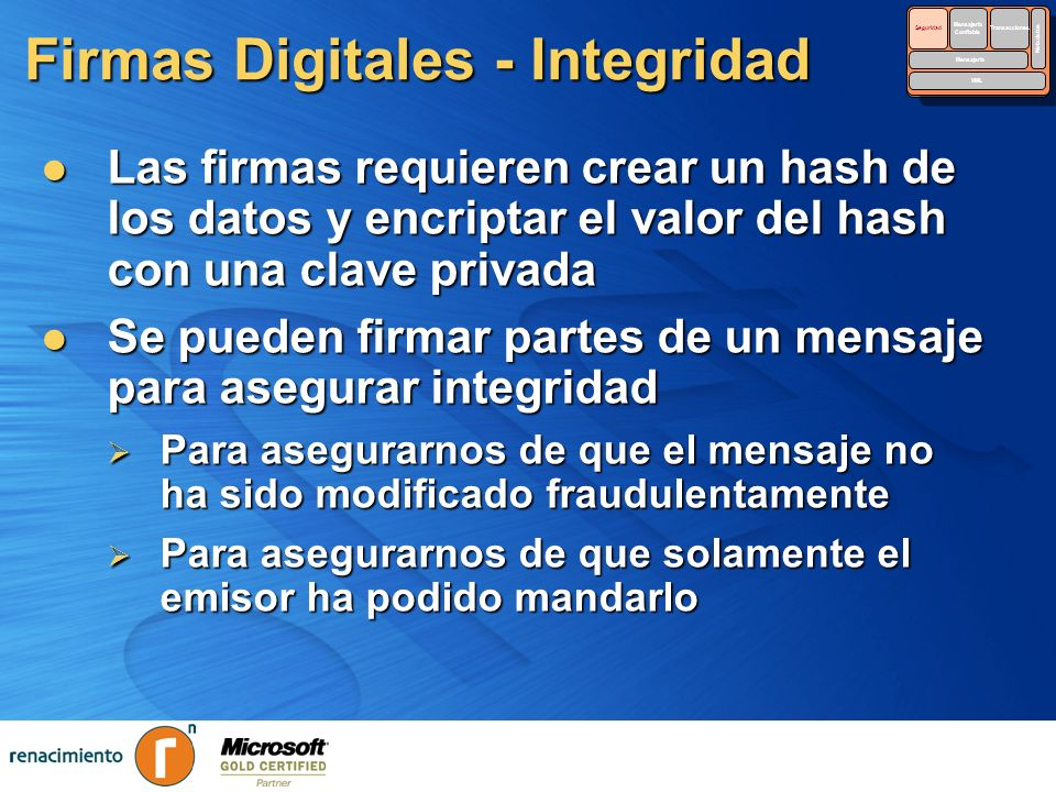 Firmas Digitales - Integridad Las firmas requieren crear un hash de los datos y encriptar el valor del hash con una clave privada Las firmas requieren