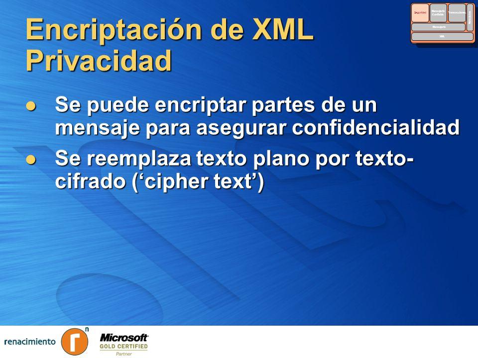 Encriptación de XML Privacidad Se puede encriptar partes de un mensaje para asegurar confidencialidad Se puede encriptar partes de un mensaje para ase