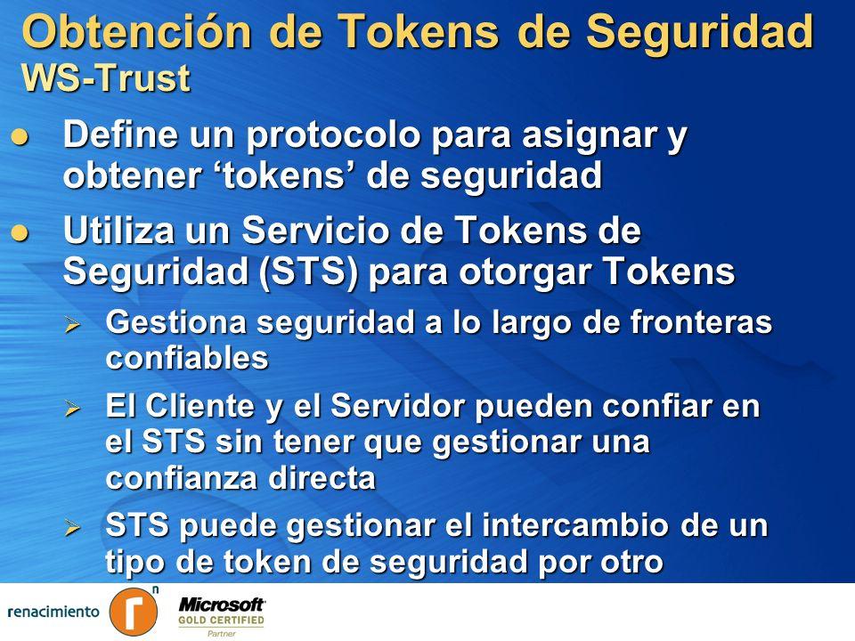 Obtención de Tokens de Seguridad WS-Trust Define un protocolo para asignar y obtener tokens de seguridad Define un protocolo para asignar y obtener to
