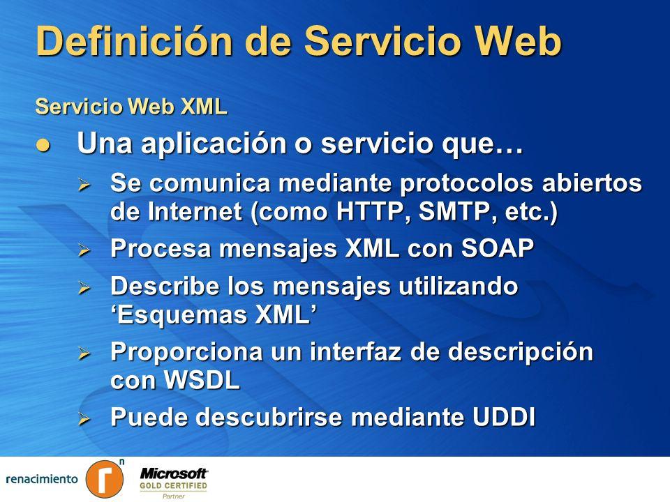 Servicios Web Protocolos Servicios publicados Registro UDDI AplicaciónClienteAplicaciónCliente Descubrimiento mediante UDDI Servicio 1 Servicio Servicio Web Invocación/Acceso mediante SOAP Transporte mediante HTTP / SMTP / WAP MensajeSOAPMensajeSOAP Publicación mediante UDDI Descripción mediante WSDL XMLSchemaWSDLXMLSchemaWSDL