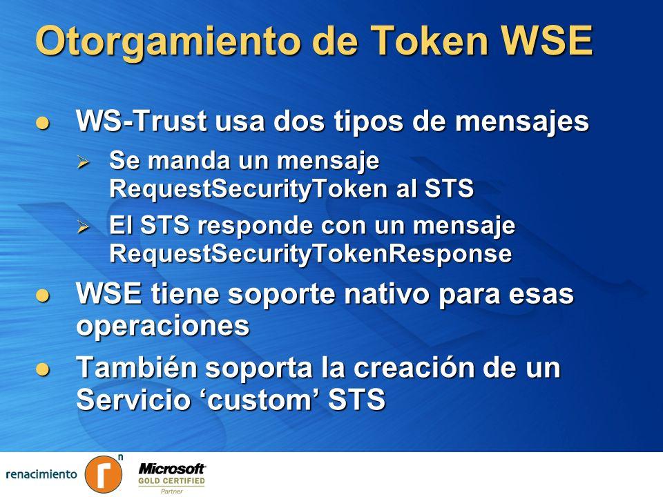 Otorgamiento de Token WSE WS-Trust usa dos tipos de mensajes WS-Trust usa dos tipos de mensajes Se manda un mensaje RequestSecurityToken al STS Se man