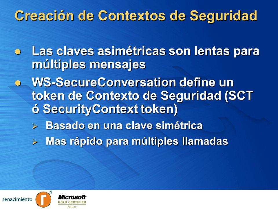 Creación de Contextos de Seguridad Las claves asimétricas son lentas para múltiples mensajes Las claves asimétricas son lentas para múltiples mensajes