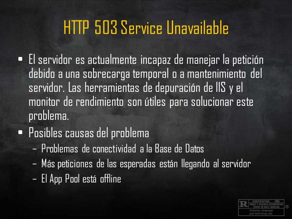 HTTP 503 Service Unavailable El servidor es actualmente incapaz de manejar la petición debido a una sobrecarga temporal o a mantenimiento del servidor