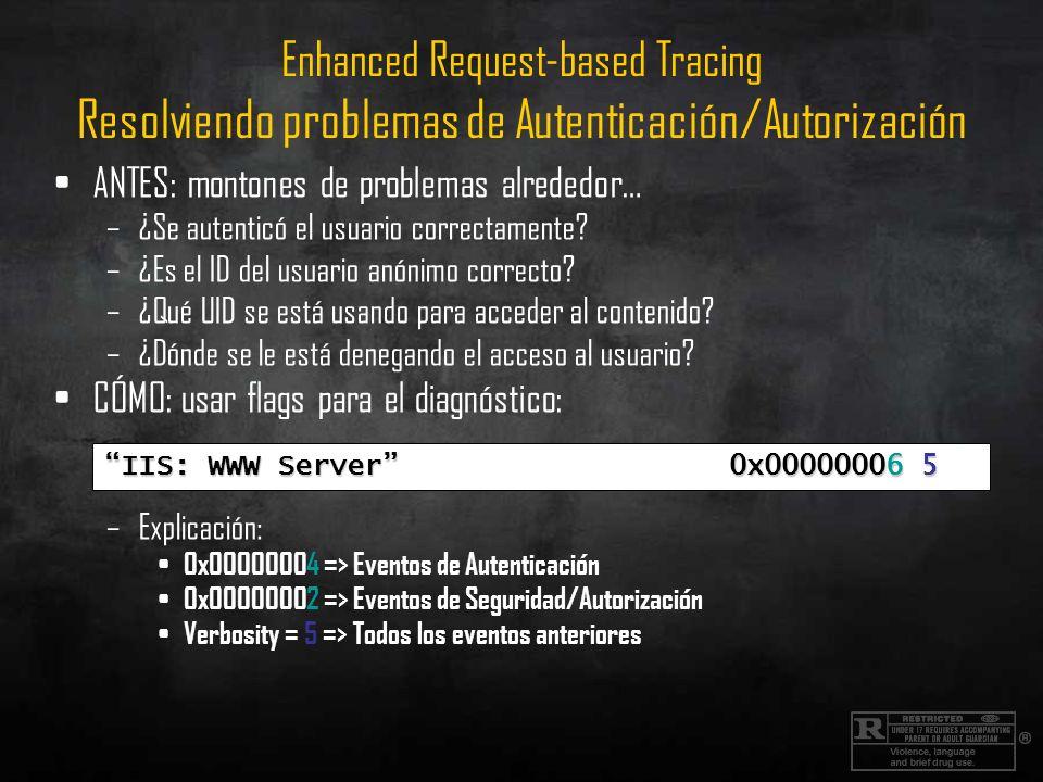 Enhanced Request-based Tracing Resolviendo problemas de Autenticación/Autorización ANTES: montones de problemas alrededor… –¿Se autenticó el usuario c