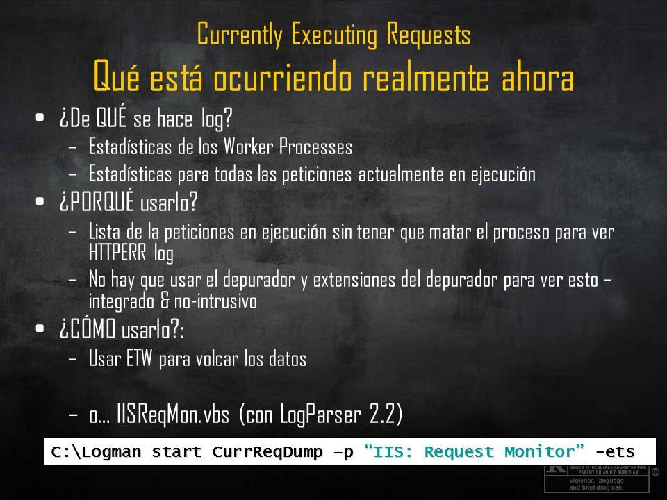 Currently Executing Requests Qué está ocurriendo realmente ahora ¿De QUÉ se hace log? –Estadísticas de los Worker Processes –Estadísticas para todas l