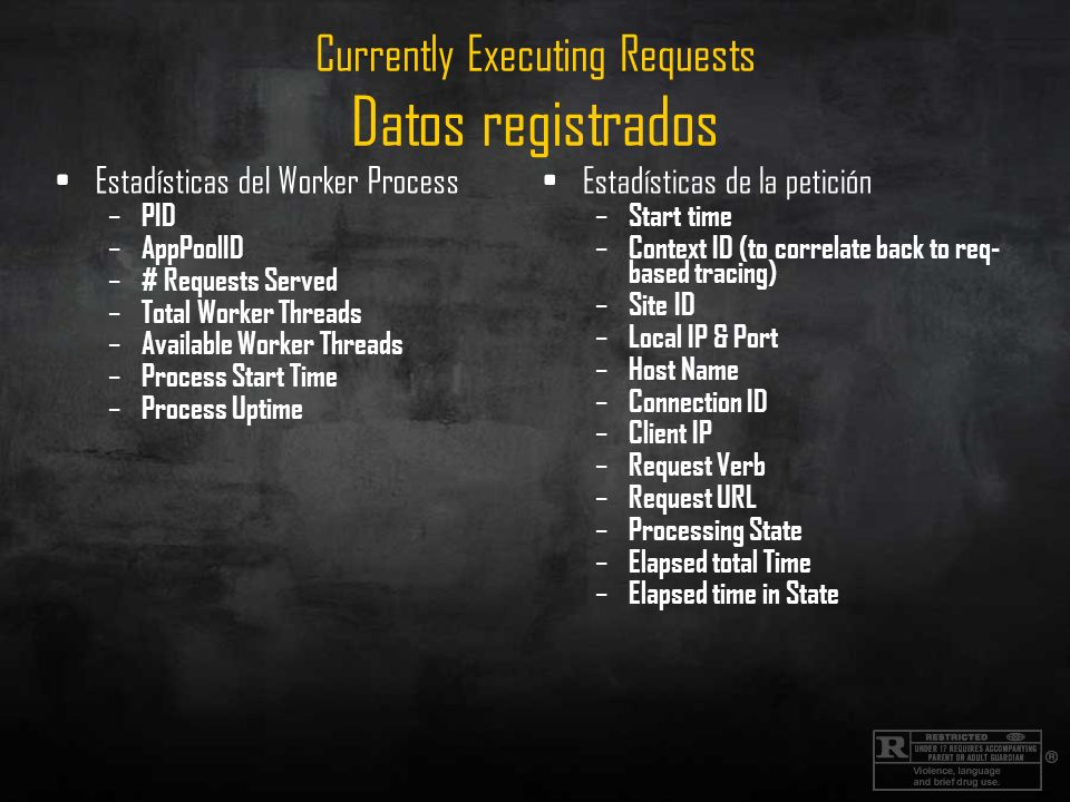 Currently Executing Requests Datos registrados Estadísticas del Worker Process – PID – AppPoolID – # Requests Served – Total Worker Threads – Available Worker Threads – Process Start Time – Process Uptime Estadísticas de la petición – Start time – Context ID (to correlate back to req- based tracing) – Site ID – Local IP & Port – Host Name – Connection ID – Client IP – Request Verb – Request URL – Processing State – Elapsed total Time – Elapsed time in State