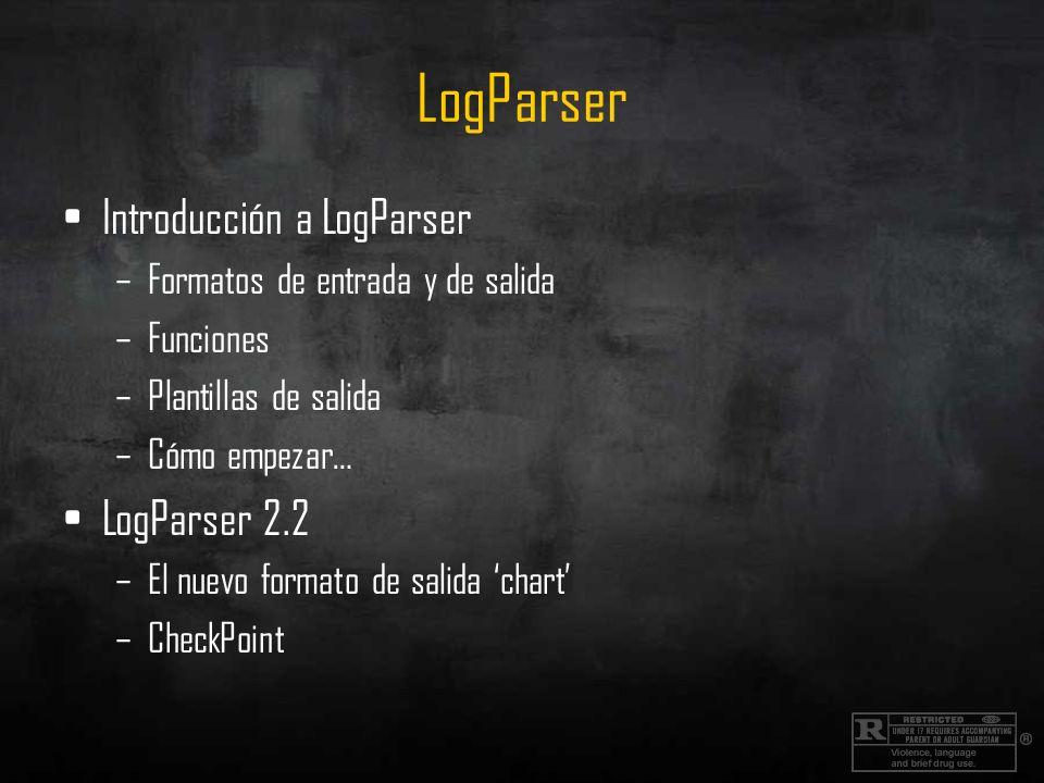 LogParser Introducción a LogParser –Formatos de entrada y de salida –Funciones –Plantillas de salida –Cómo empezar… LogParser 2.2 –El nuevo formato de