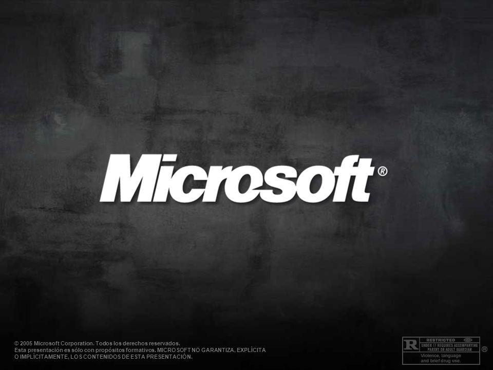 © 2005 Microsoft Corporation. Todos los derechos reservados. Esta presentación es sólo con propósitos formativos. MICROSOFT NO GARANTIZA, EXPLÍCITA O
