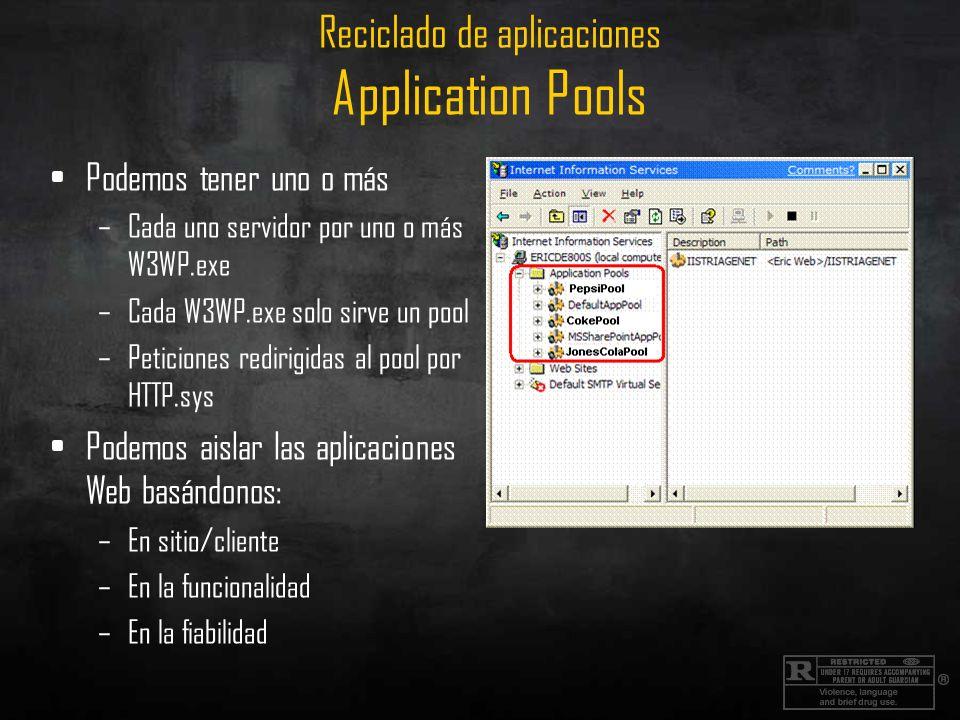 Reciclado de aplicaciones Application Pools Podemos tener uno o más –Cada uno servidor por uno o más W3WP.exe –Cada W3WP.exe solo sirve un pool –Petic