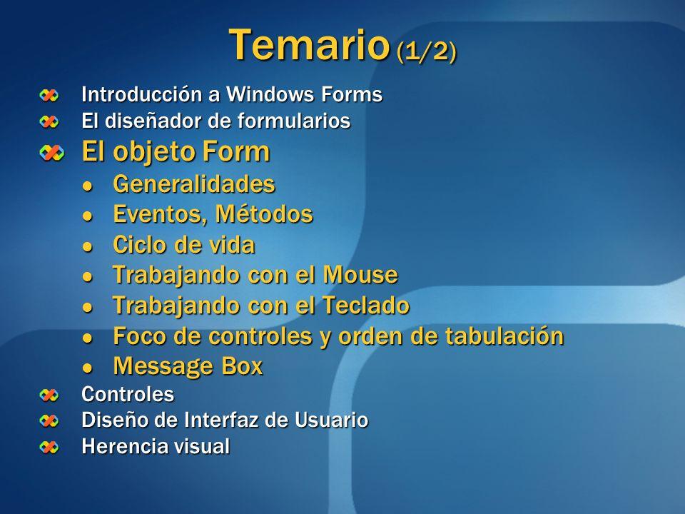 Temario (1/2) Introducción a Windows Forms El diseñador de formularios El objeto Form Generalidades Generalidades Eventos, Métodos Eventos, Métodos Ci