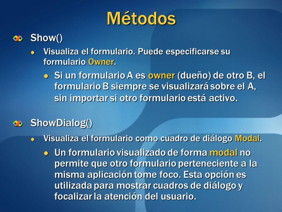 Métodos Show() Visualiza el formulario. Puede especificarse su formulario Owner. Visualiza el formulario. Puede especificarse su formulario Owner. Si