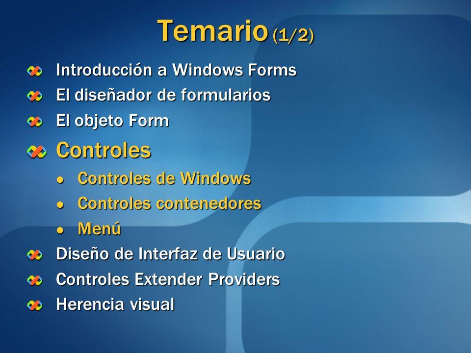 Temario (1/2) Introducción a Windows Forms El diseñador de formularios El objeto Form Controles Controles de Windows Controles de Windows Controles co