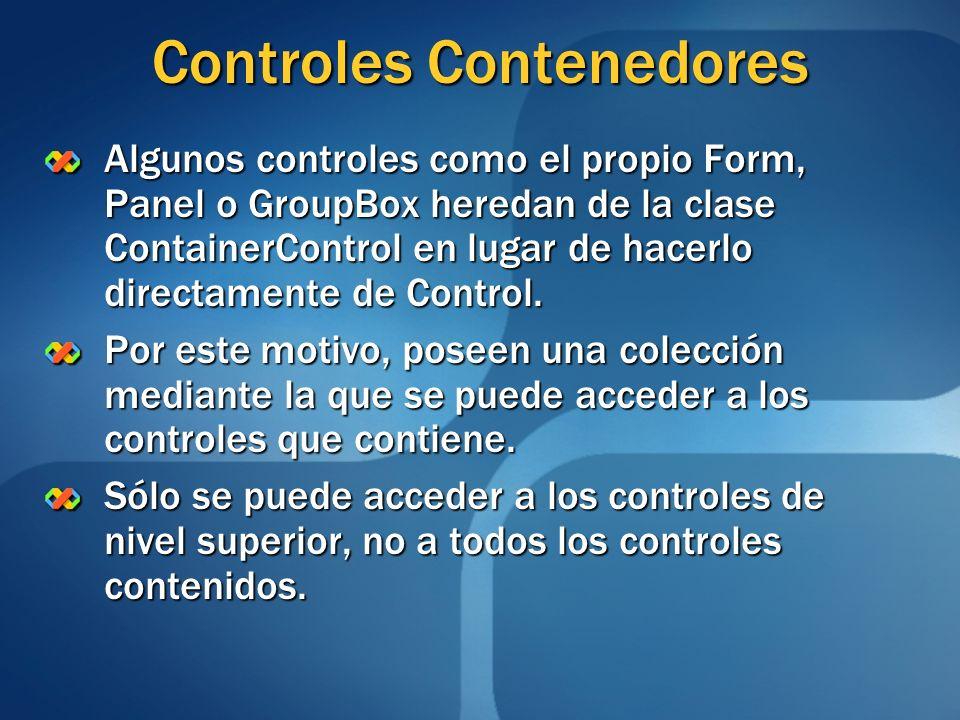 Controles Contenedores Algunos controles como el propio Form, Panel o GroupBox heredan de la clase ContainerControl en lugar de hacerlo directamente d