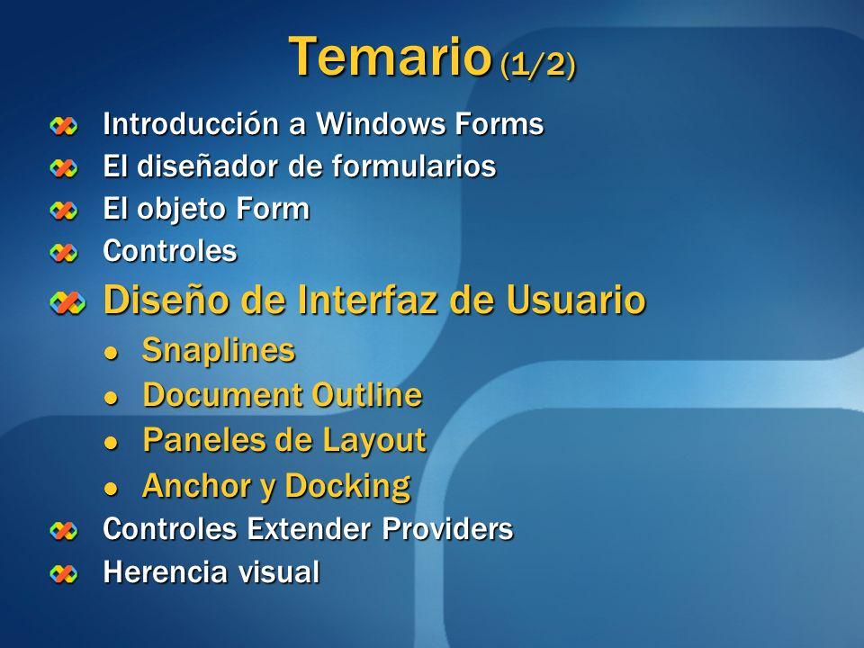 Temario (1/2) Introducción a Windows Forms El diseñador de formularios El objeto Form Controles Diseño de Interfaz de Usuario Snaplines Snaplines Docu