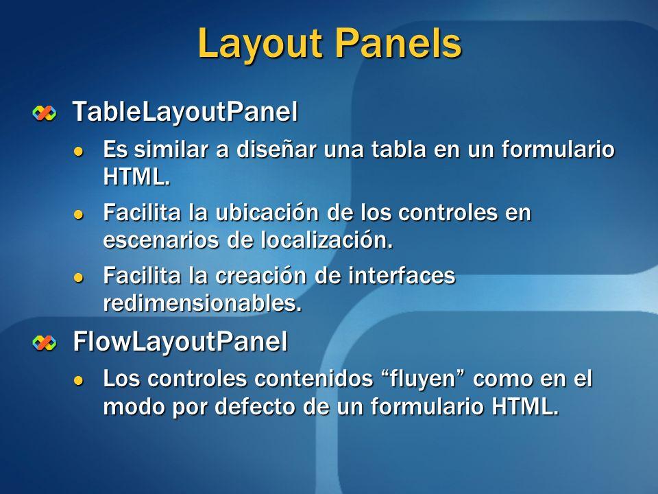 Layout Panels TableLayoutPanel Es similar a diseñar una tabla en un formulario HTML. Es similar a diseñar una tabla en un formulario HTML. Facilita la