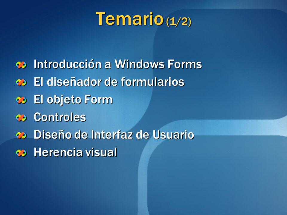 Métodos Show() Visualiza el formulario.Puede especificarse su formulario Owner.