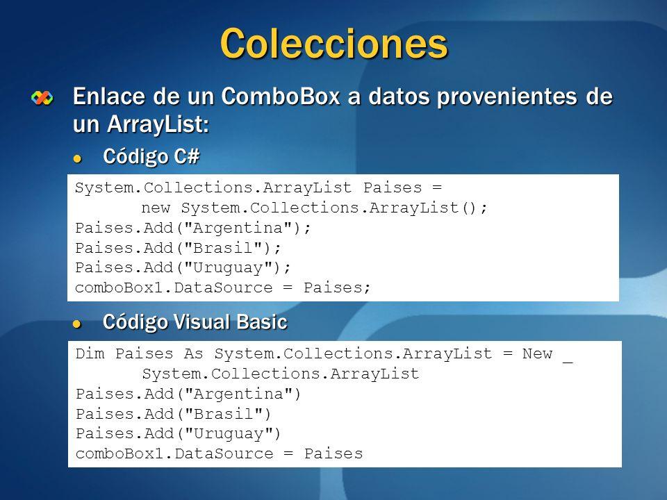 Colecciones Enlace de un ComboBox a datos provenientes de un ArrayList: Código C# Código C# System.Collections.ArrayList Paises = new System.Collectio