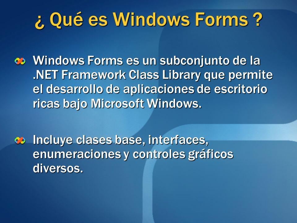 ¿ Qué es Windows Forms ? Windows Forms es un subconjunto de la.NET Framework Class Library que permite el desarrollo de aplicaciones de escritorio ric