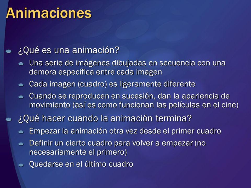 Animaciones ¿Qué es una animación? Una serie de imágenes dibujadas en secuencia con una demora específica entre cada imagen Cada imagen (cuadro) es li