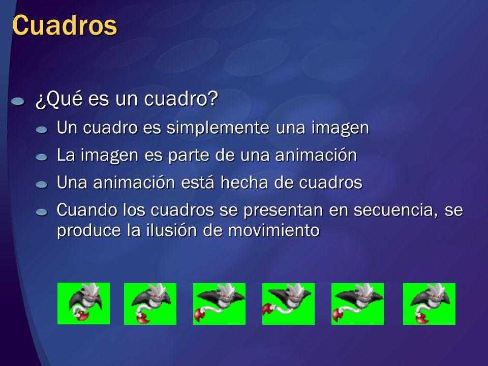 Cuadros ¿Qué es un cuadro? Un cuadro es simplemente una imagen La imagen es parte de una animación Una animación está hecha de cuadros Cuando los cuad