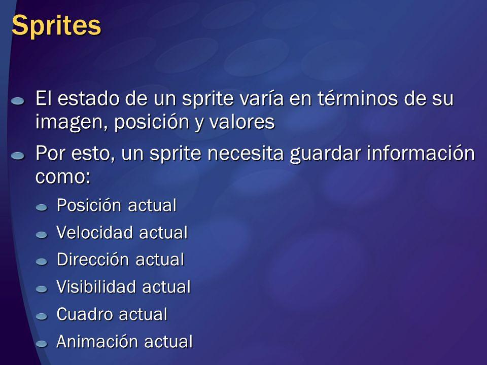 Sprites El estado de un sprite varía en términos de su imagen, posición y valores Por esto, un sprite necesita guardar información como: Posición actu