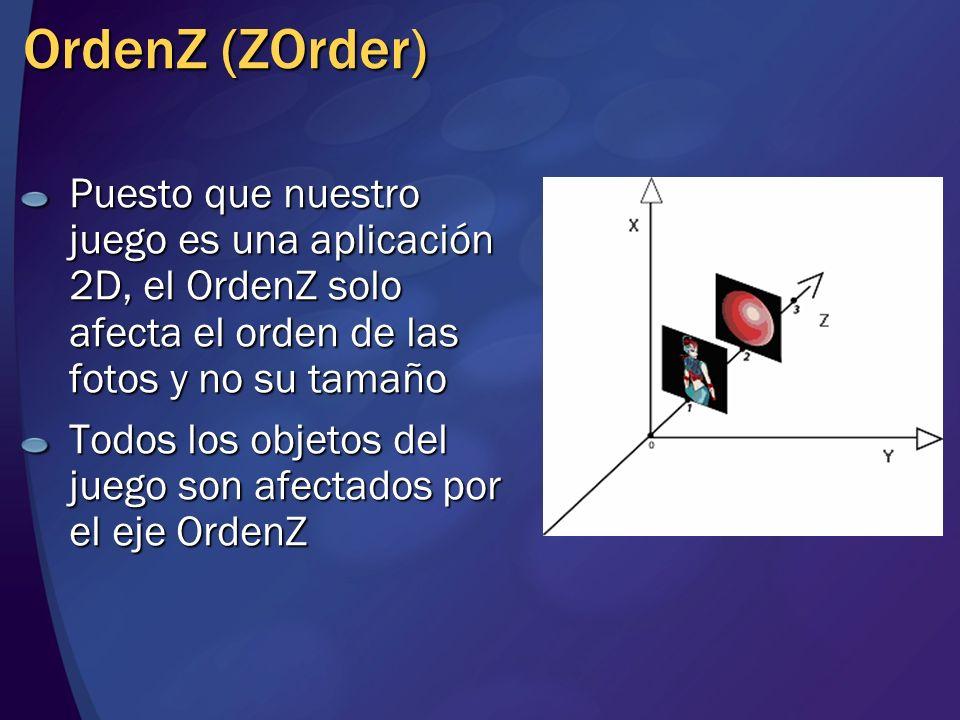 OrdenZ (ZOrder) Puesto que nuestro juego es una aplicación 2D, el OrdenZ solo afecta el orden de las fotos y no su tamaño Todos los objetos del juego