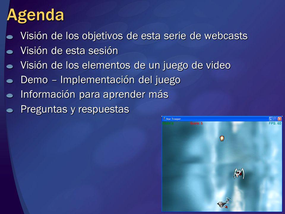 Agenda Visión de los objetivos de esta serie de webcasts Visión de esta sesión Visión de los elementos de un juego de video Demo – Implementación del