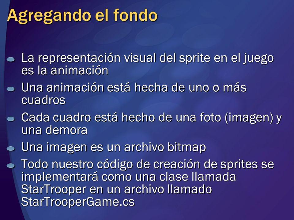 Agregando el fondo La representación visual del sprite en el juego es la animación Una animación está hecha de uno o más cuadros Cada cuadro está hech