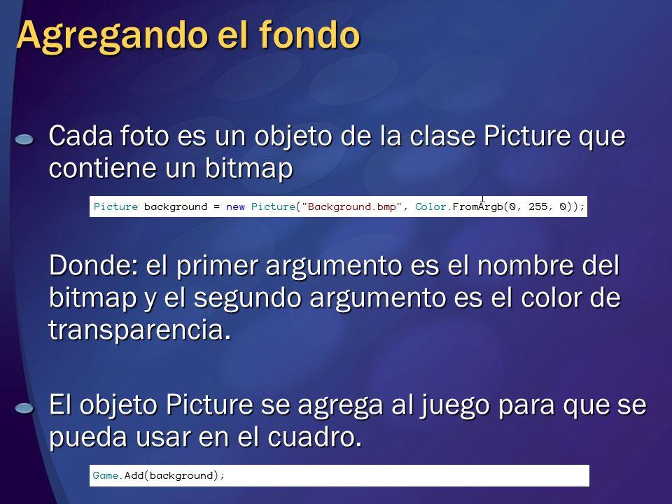 Cada foto es un objeto de la clase Picture que contiene un bitmap Donde: el primer argumento es el nombre del bitmap y el segundo argumento es el colo