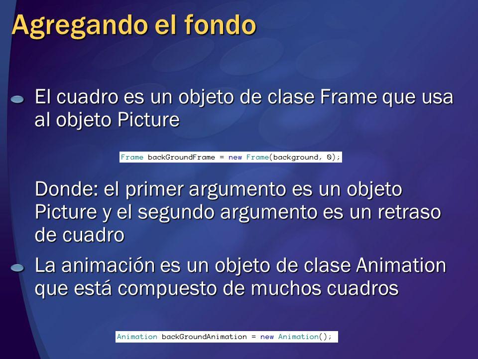 El cuadro es un objeto de clase Frame que usa al objeto Picture Donde: el primer argumento es un objeto Picture y el segundo argumento es un retraso d