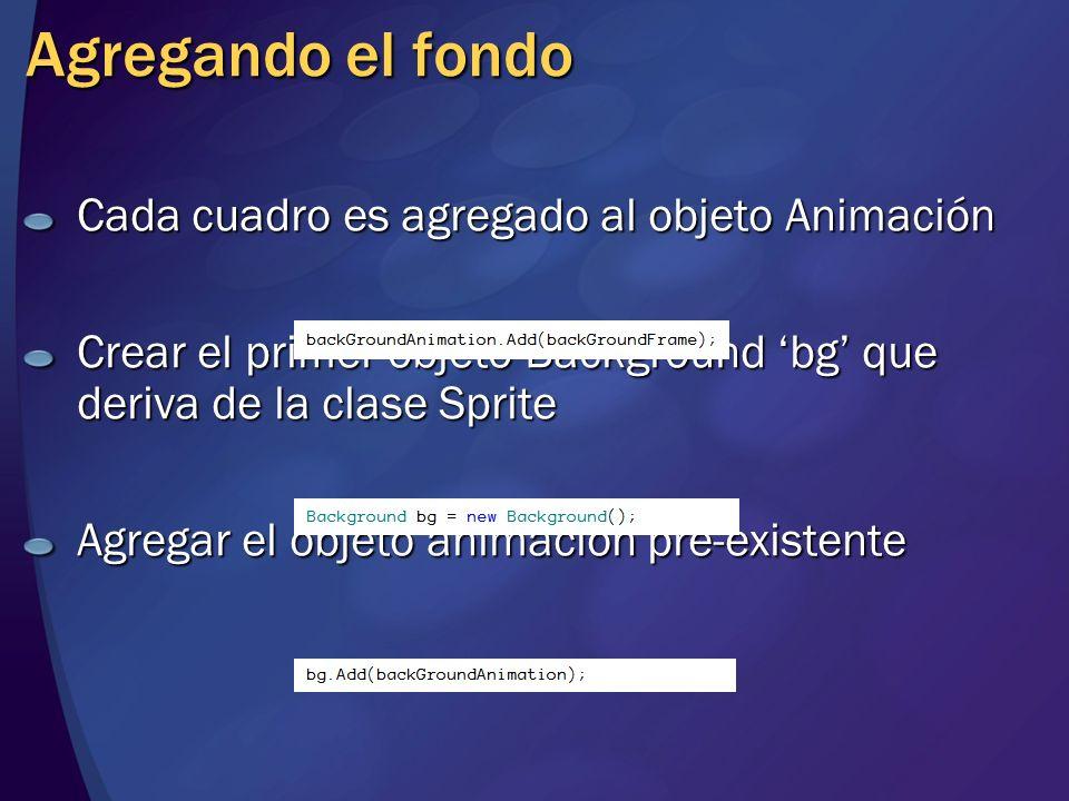 Cada cuadro es agregado al objeto Animación Crear el primer objeto Background bg que deriva de la clase Sprite Agregar el objeto animación pre-existen