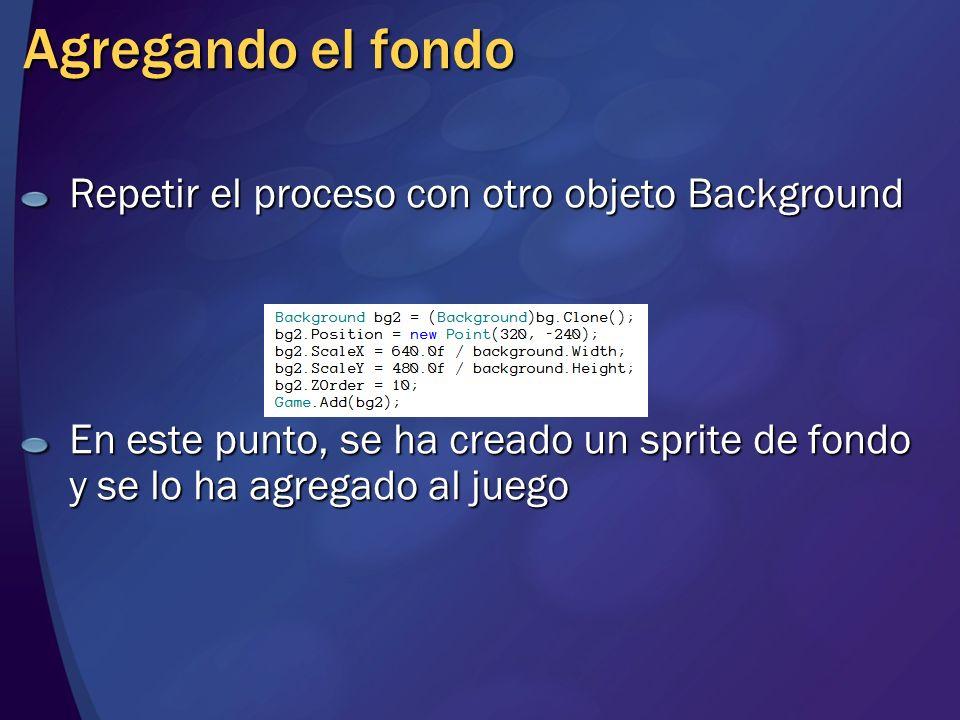 Repetir el proceso con otro objeto Background En este punto, se ha creado un sprite de fondo y se lo ha agregado al juego Agregando el fondo